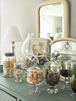 A great way to display shells you bring home from the beach...maybe etch the place and date from the vacation on the glass or place a handmade card or note inside.
