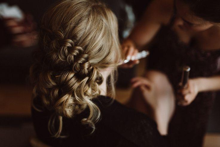 Getting bridal braided romantic hairdo ready |  | Scandinavian wedding | Pitsiniekka | Picture by Jaakko Sorvisto www.jaakkosorvisto.com