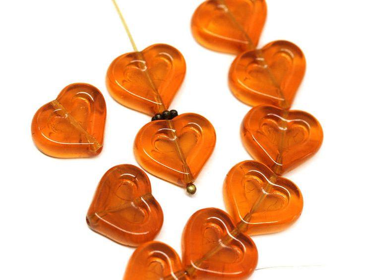 Topaz Heart beads Brown Topaz Czech glass beads 14mm glass hearts for jewelry making - 10pc - 0959 by MayaHoney on Etsy