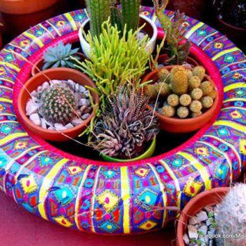 Querendo Ideias de Jardim com Pneus para Decorar em Casa? Veja estes 38 Modelos de Jardins de Pneus Coloridos para Enfeitar e Sua Própria Decoração!