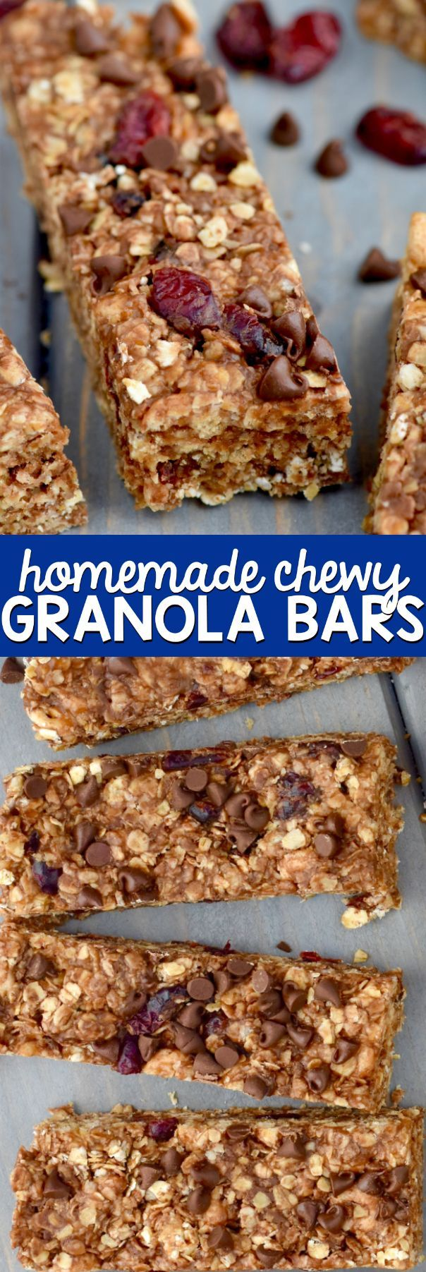 These Homemade Chewy Granola Bars can be made in about 10 minutes, and they are a delicious snack perfect for on the go!