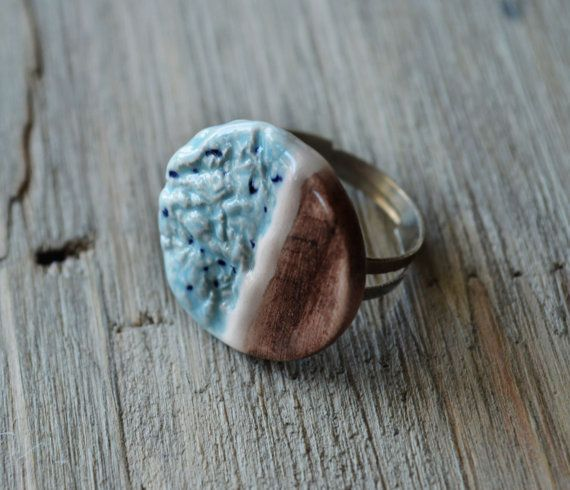 Accent Round Geometric Ceramic Ring  by SoulInspiredCeramics