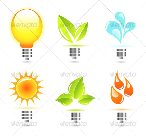 Nature in electricity. Icons — Vector EPS #icon • Available here → https://graphicriver.net/item/nature-in-electricity-icons/58464?ref=pxcr