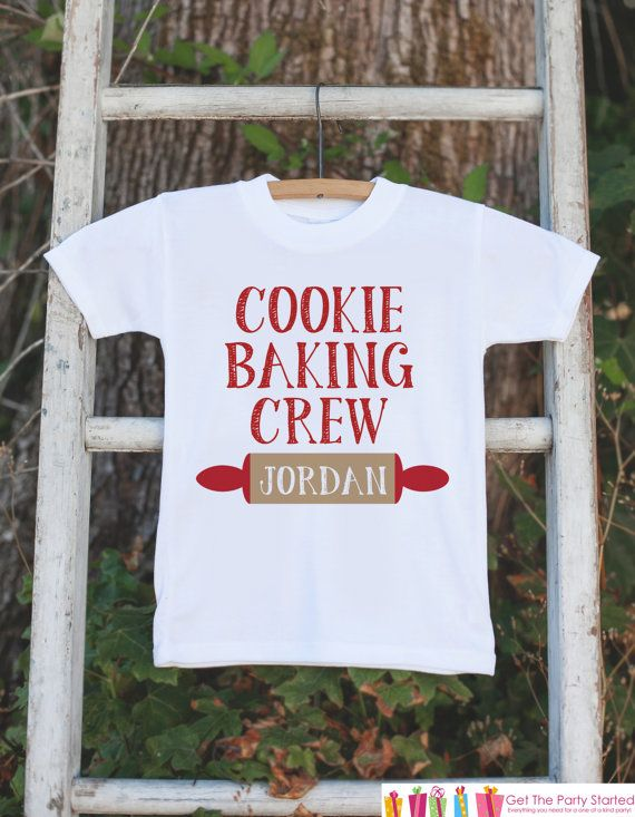 Kids Christmas Outfit - Cookie Baking Crew Onepiece or Tshirt - Christmas Shirt for Baby Boy or Baby Girl - Christmas Cookies Baking Outfit