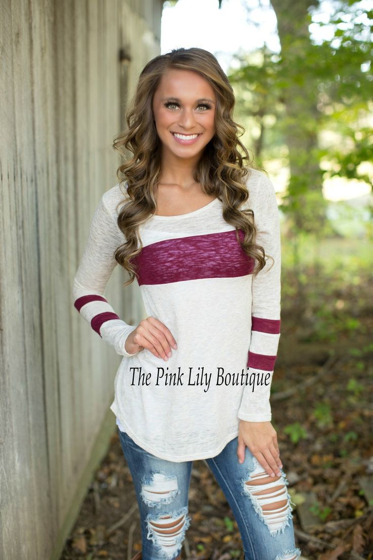 The Pink Lily Boutique - One Step Closer Oatmeal and Burgundy Tunic , $34.00 (http://thepinklilyboutique.com/one-step-closer-oatmeal-and-burgundy-tunic/)