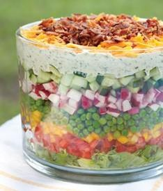 Eating a seven layer salad 12:12 monday