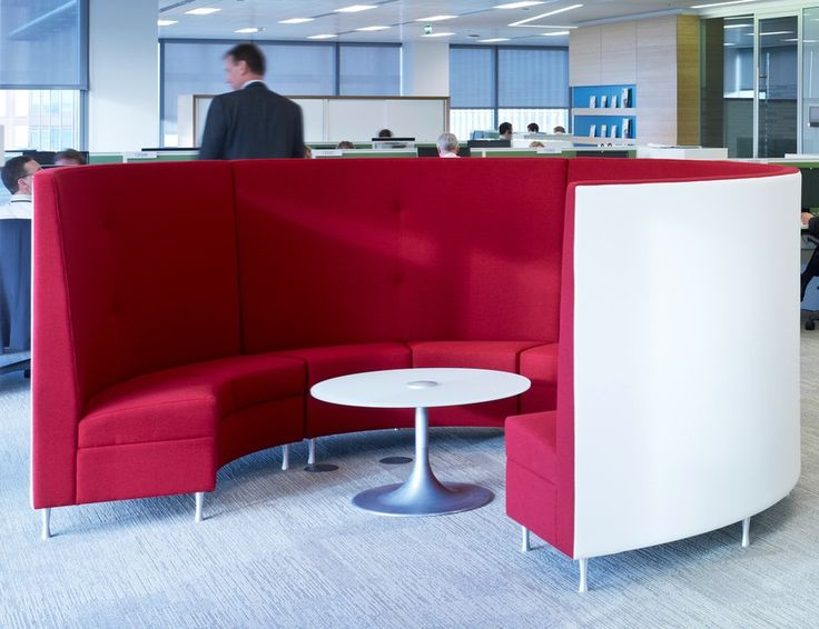 Collaborative Workspace >> Circular meeting pod >> This huddle space is perfect for staff at Shell's London office to gather for an informal or huddle meeting. The circular shape promotes collaboration between everyone in the group and the high backed sides help to prevent sound travelling to people working in other parts of the open plan office. See more of this office fit out project in the case study, by clicking the image: