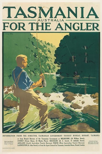 """""""Tasmania for the angler"""" 1930s travel poster by Harry Garnet Kelly #anglers #travel #travelposter #tasmania #discovertasmania"""