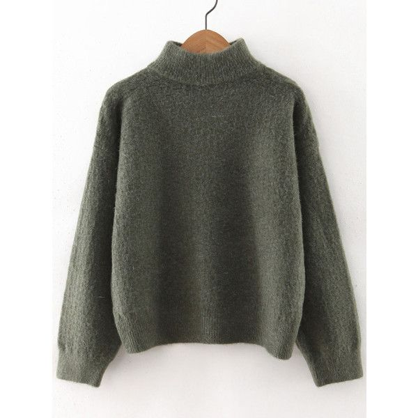 SheIn(sheinside) Army Green Turtleneck Drop Shoulder Sweater (200 SEK) ❤ liked on Polyvore featuring tops, sweaters, green, loose turtleneck sweater, army green sweater, loose sweaters, green sweater and turtleneck sweater