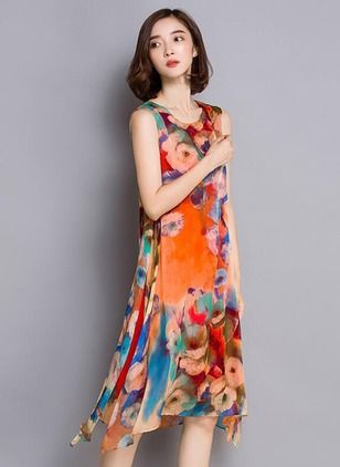 Chiffon Floral Sleeveless Knee-Length Vintage Dresses (1013472) @ floryday.com