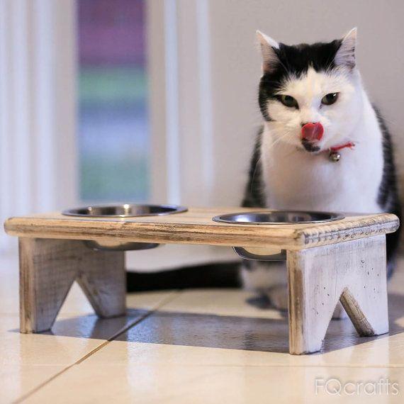 X-Small en bois surélevée Pet Feeder - deux bols inox surélevé - plus de saine alimentation pour votre chat et de chien