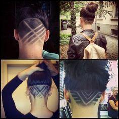 curly undercut shaved pattern - Google zoeken