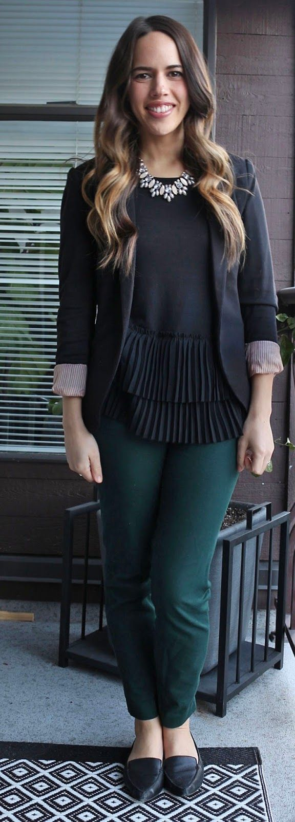 Jules in Flats - Banana Republic Tiered Ruffled Blouse, H&M Blazer, Old Navy Pixie Pants