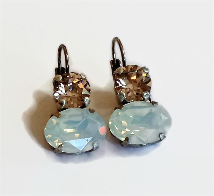 Swarovski Crystal 14X10mm oval fancy stone earrings white opal and vintage rose #Swarovski