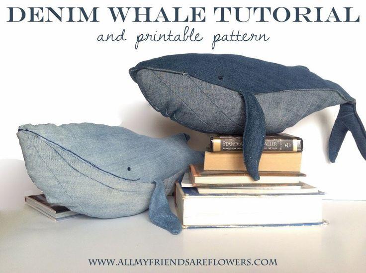 Wal-Kissen - Kuscheltier Wal aus Jeans/ Denim - Freebook