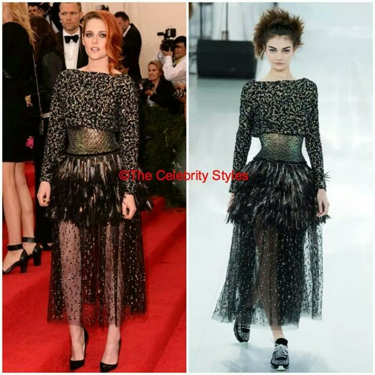 YOU CANNOT MISS IT - [Met Gala] : Kristen Stewart was wearing CHANEL 2014 SS Couture to the Met Gala in NY on 5th April! #MetGala #KristenStewart #Chanel #NYC #Fashion #Gala #Couture #whoworewhat #whowearswhat