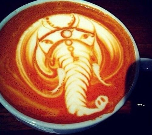Just like an elephant, we never forget...to drink coffee. #LatteFoamArt #MrCoffee
