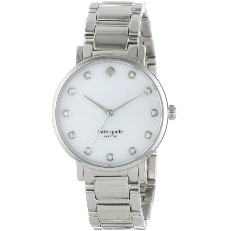 Crisp color and playful sophistication are the hallmarks of Kate Spade, a brand that encourages personal style with a dash of radiant charm. Inspired by Gramercy Park in Manhattan, this watch features a white dial and steel bracelet.