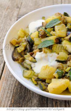 Patate e verdure saltate in padella con scamorza vickyart arte in cucina