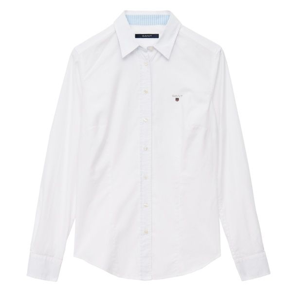 GANT Dam Stretch Oxford W/ Shield | Skjorta White | Officiell Sida