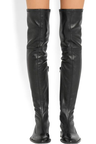 Heel measures approximately 25mm/ 1 inch Black stretch-leather Chain trim, almond toe Zip fastening along side Made in Italy