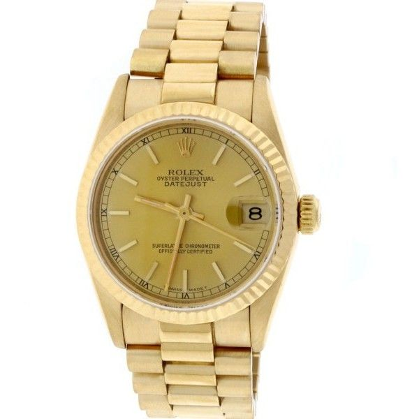 Pre-owned Rolex Datejust 68278 18K Yellow Gold & Champagne Dial 31mm... ($8,900) ❤ liked on Polyvore featuring jewelry, watches, crown jewelry, 18k gold jewelry, gold jewelry, 18 karat gold watches and gold watches