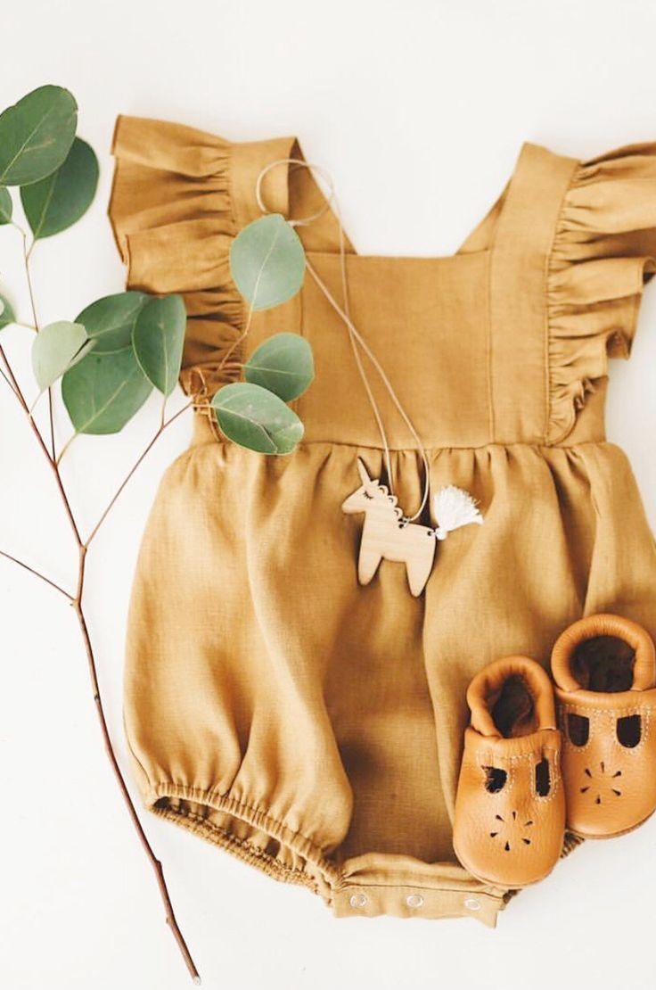 11e059fa9 Handmade Linen Ruffle Baby Romper