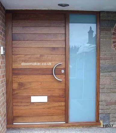 contemporary iroko door sandblasted sidelight