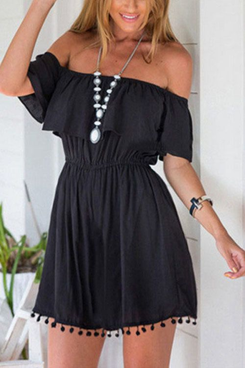 Black Front Layered Off Shoulder Dresses - US$13.95 -YOINS