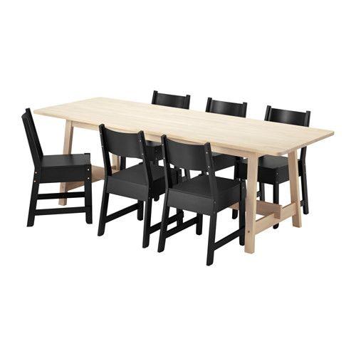 NORRÅKER / NORRÅKER テーブル&チェア6脚 IKEA 耐久性と体磨耗性に優れています。業務用にも適しています。 一つひとつ木目模様や色合いが異なり、無垢材ならではのナチュラルな風合いが魅力です 角が丸いので、お子さまが頭をぶつけても安全です