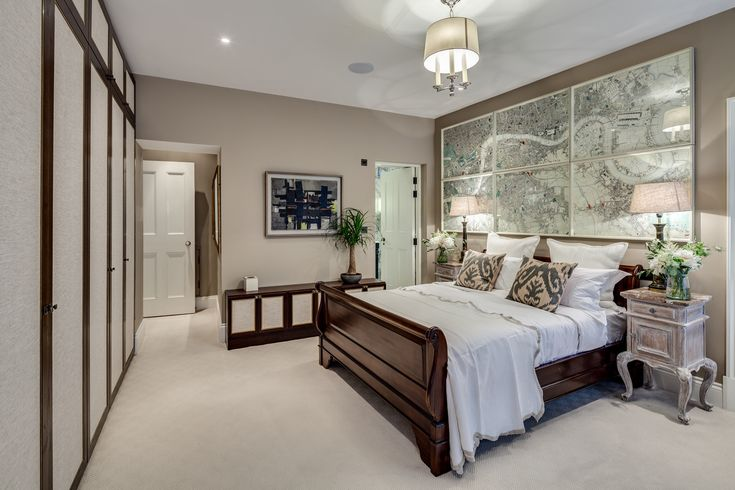 Master Bedroom, Sleigh Bed, Mahogany Bed, Bespoke Wardrobes, Development, Apartment, Gatti House, The Strand, London, Interior Design, Home Decor, Interior Decoration, Barlow & Barlow