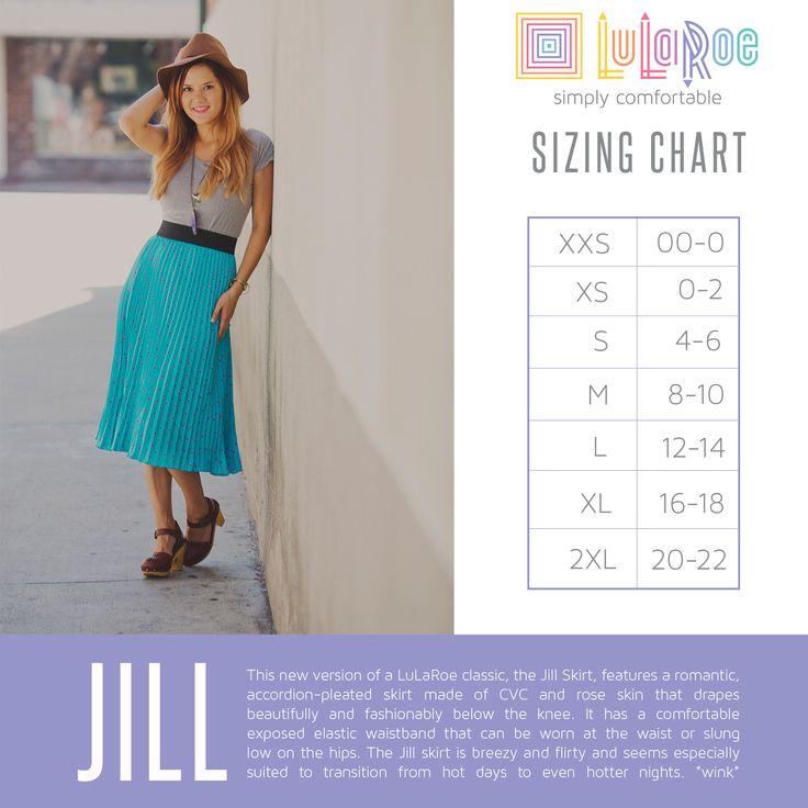 LuLaRoe Jill Skirt Size Chart. Shop now: www.facebook.com/groups/LuLaRoeJenny/.