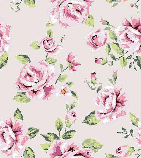 Papel De Parede Floral Com Fundo Rosa Claro E Desenhos Em Tons