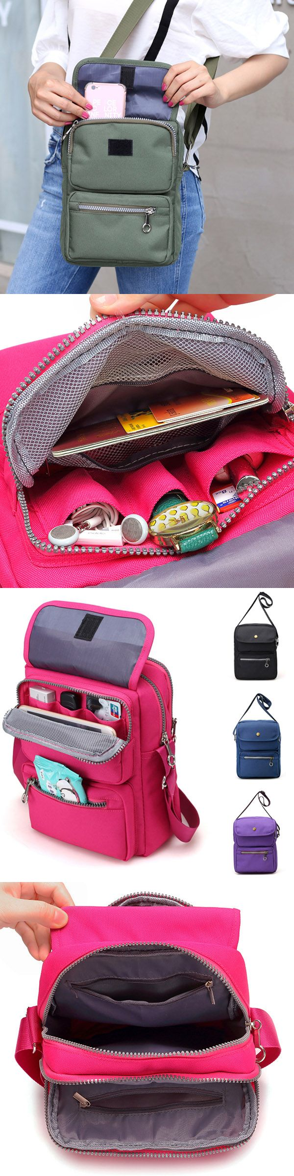 US$14.46 Women Nylon Travel Passport Bag Crossbody Travel Bag Useful Shoulder Bag