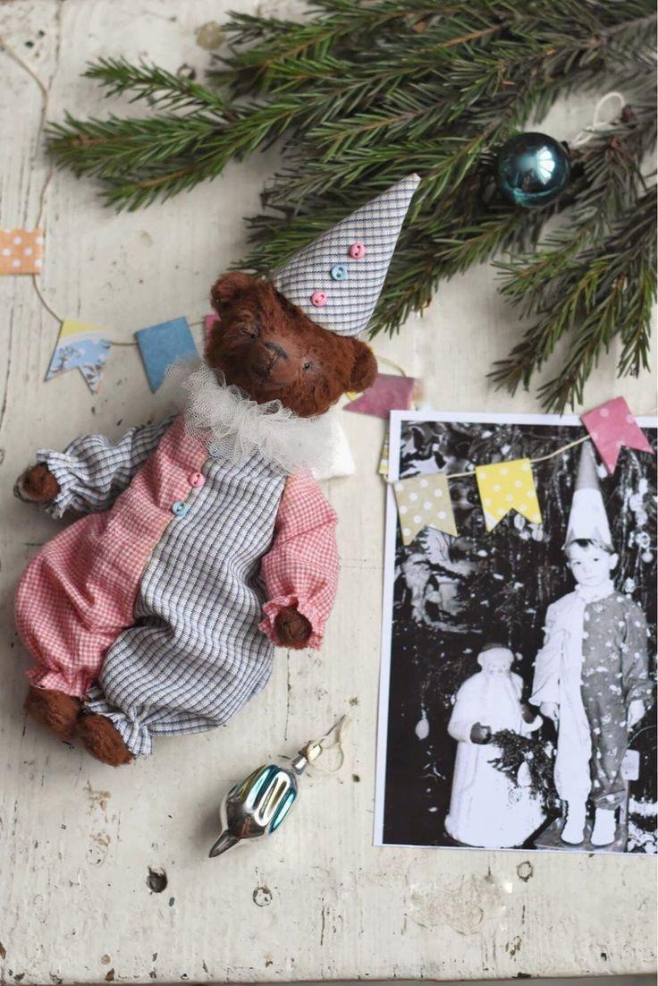 Купить Мишка Дениска в костюме клоуна - тедди, мишка тедди, карнавал, карнавальный костюм, СССР