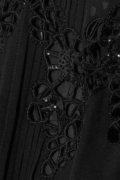 Oscar de la Renta - Broderie Anglaise Silk-chiffon Blouse - Black - US6