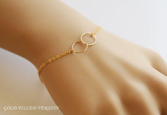 Migliori gli amici bracciale, braccialetto di riempire d'oro, bracciale di Karma cerchio, cerchio di amore l'eternità, Wire Wrapped Pearl, r...