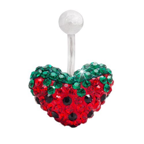 #piercing #bellyring en forma de #corazon y dibujo de #fresa de color #rojo, verde y negro 14.95€ en #PapayaBodyJewelry