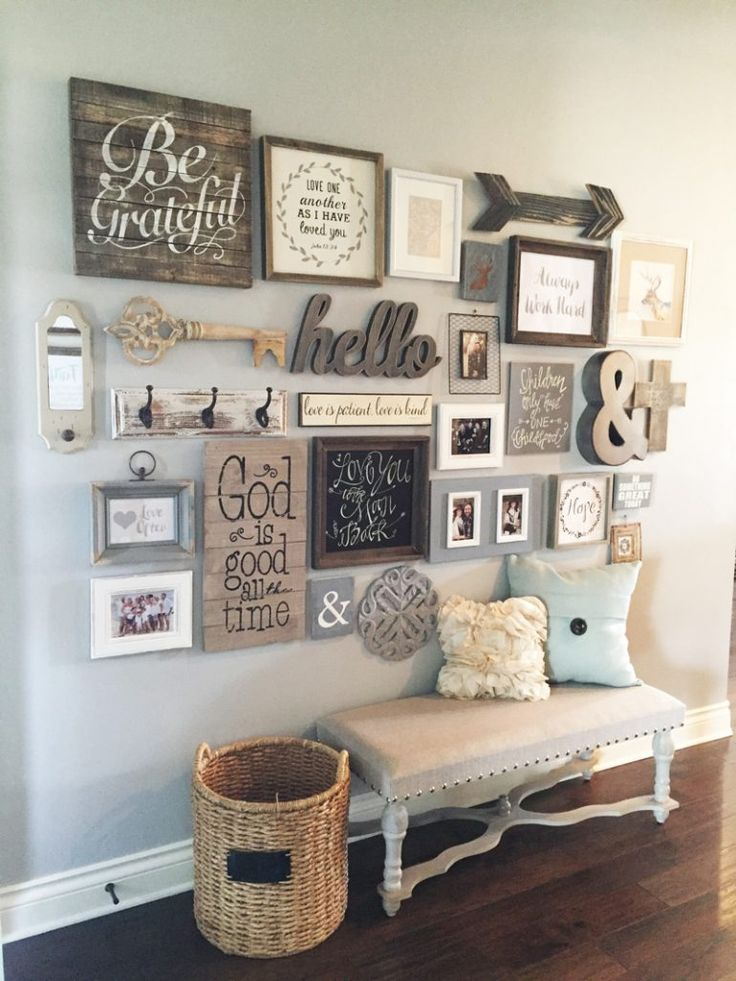 Entryway Gallery Wall and Foyer Bench ... LOVE the pallet word art {Be Grateful}, wooden arrow, chalkboard, hello, ampersand, basket next to bench with chalkboard tag ...