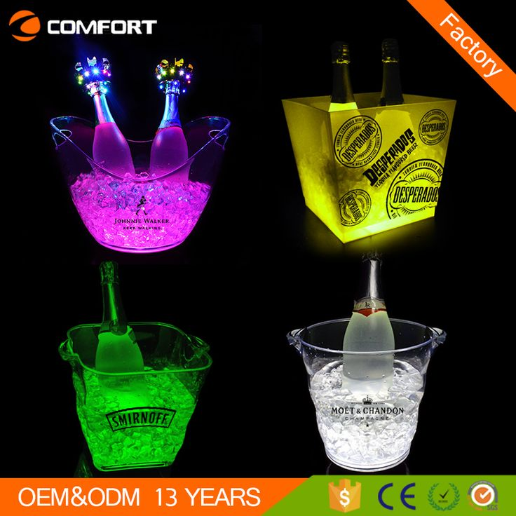 Cheap Plastic Champagne Acrylic Led Ice Bucket For Beer Wholesale