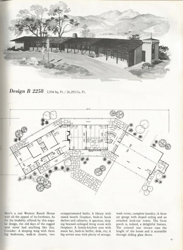 284 best mid century house plans images on pinterest mid for Mid century floor plans