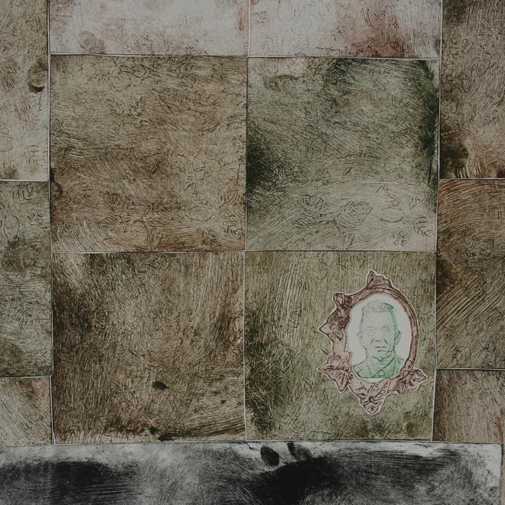 azulejos marrons, argamassa, moldura, senhor em fundo branco