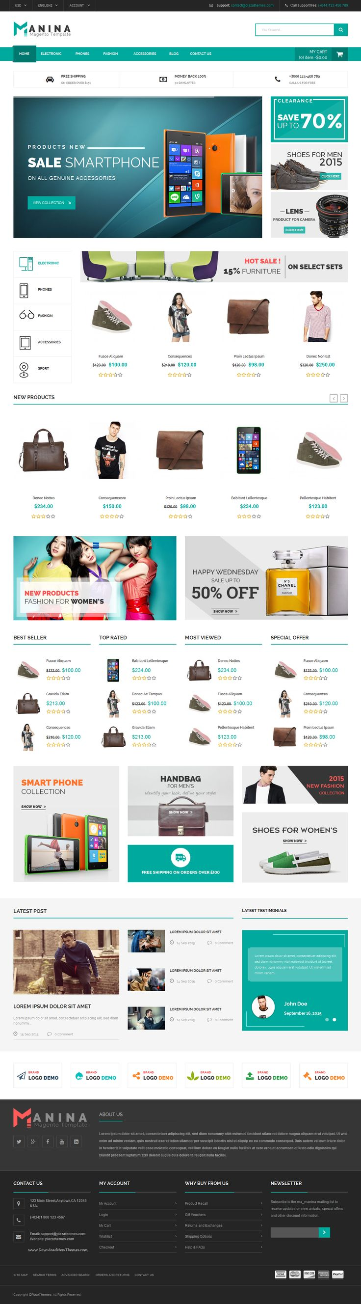 Manina Mega Shop Magento Theme is especially designed to serve for online #supermarket businesses & personal. It is suitable for selling fashion, digital products, electronics products, accessories products, etc. It brings 4 homepage layouts for your choice. #eCommerce #theme