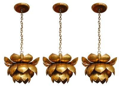 brass vintage flower pendants.