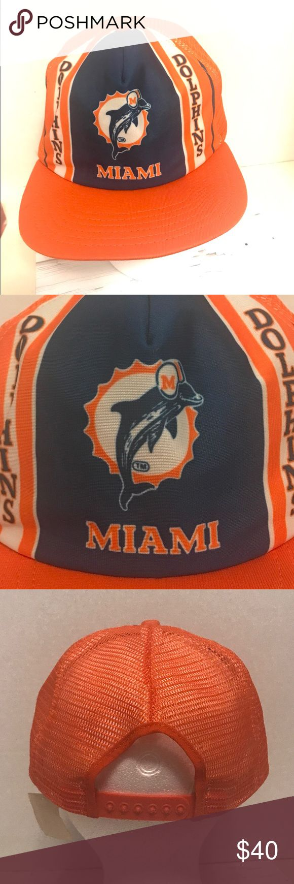 VINTAGE Miami Dolphins Mesh Trucker Hat NOS New Era Made in The USA Pro Design Official NFL Merchandise Please See All Photos New Era Accessories Hats