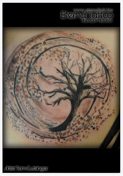 Tree and Leaves blowing in the wind.  Tattoo.