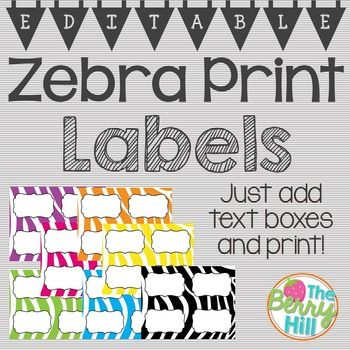 "Zebra Print Labels - EDITABLE!This is a POWERPOINT which contains 7 slides of zebra labels in 7 different colors (black, pink, purple, green, yellow, blue, orange). Each slide is sized to 11"" x 8.5"", and each individual label (when cut appropriately) is 4.25"" x 5.5"".To use, insert a text box in each label and customize to your needs! Be sure to look for my Beginning of the Year Big Bundle in zebra print in my shop, as we..."