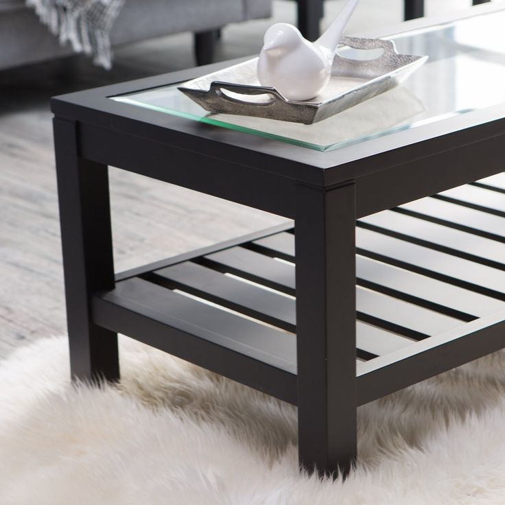 Sutton Glass Top Coffee Table With Slat Bottom   The Simple Yet Utterly  Chic Design Of