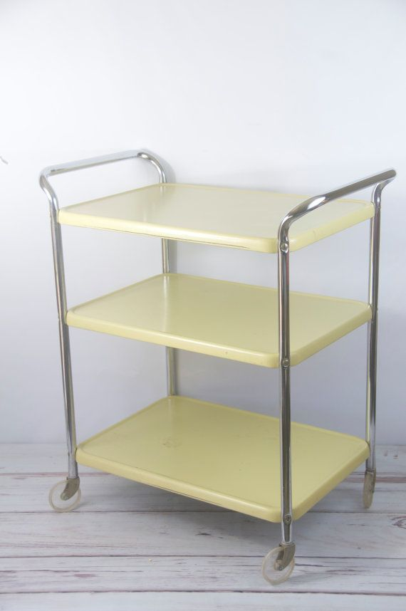 Vintage 1950s Cosco Metal Utility Kitchen Appliance Table Cart Chrome Mid Century Vintage The
