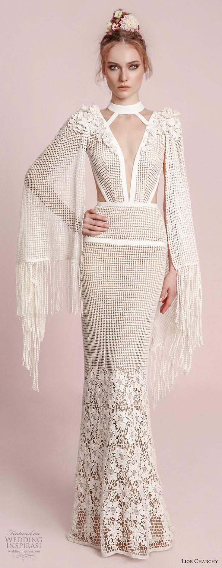 lior charchy spring 2017 bridal hanging sleeves deep plunging v neck keyhole full embellishment elegant sexy sheath fit and flare wedding dress (12) mv
